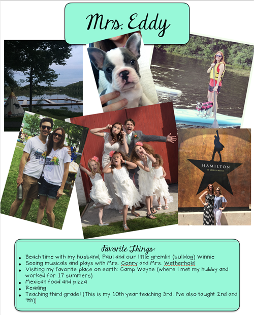 picture of Mrs. Eddy's dog, husband, paddleboarding, her wedding, Mrs. Eddy at Hamilton, and a list of her favorite things