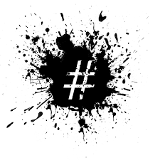 Hashtag symbol surrounded by an ink splatter