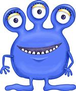 Three eyes happy smiling blhe monster character