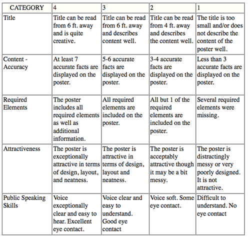 Sample oral book report rubric