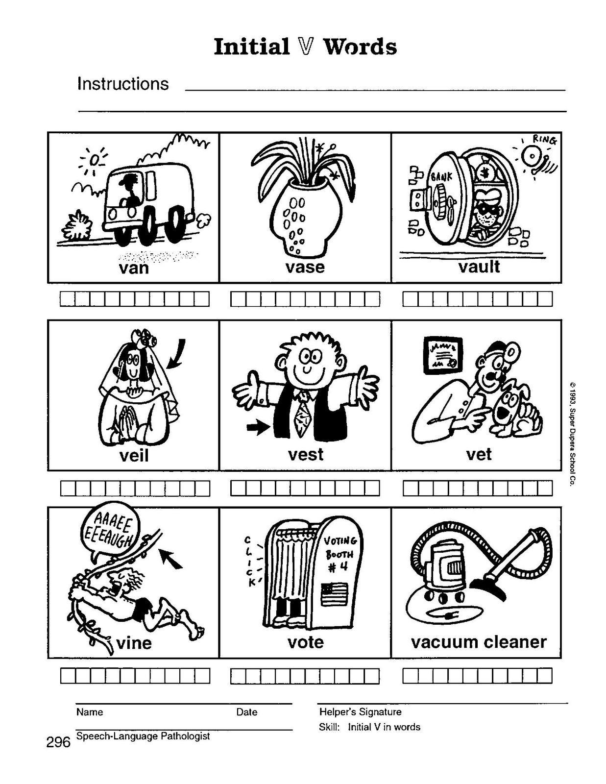 Worksheet I Words Preschool preschool speech home practice materials initial v 1
