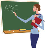 Teacher holding book writing on chalkboard